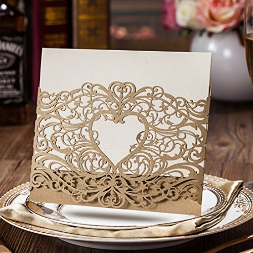 Wishmade 50pcs Gold Laser Cut Wedding Invitations Cards with Pocket Heart Design Hollow Elegant Kit for Marriage Engagement Birthday Bridal Shower with Envelopes Seals (set of 50pcs) - Double Invitation Envelopes