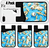 Liili Phone Card holder sleeve/wallet for iPhone Samsung Android and all smartphones with removable microfiber screen cleaner Silicone card Caddy(4 Pack) IMAGE ID: 11599184 spa bathing salt sea shell