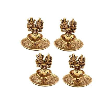 Amazon Com Handicrafts Paradise Lakshmi Ganesh Hand Diya Set Of 4