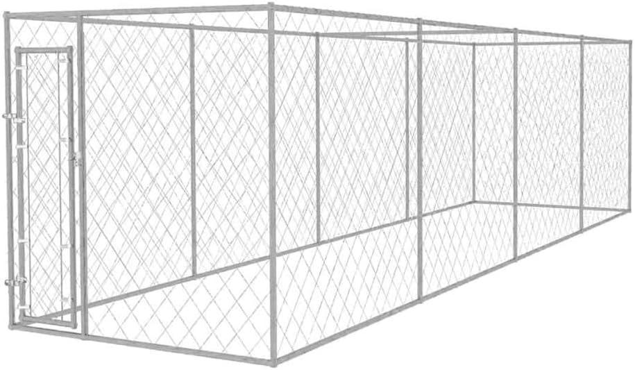 vidaXL Perrera de Exterior 8x2x2 m Acero Galvanizado 16 m² Jaula ...