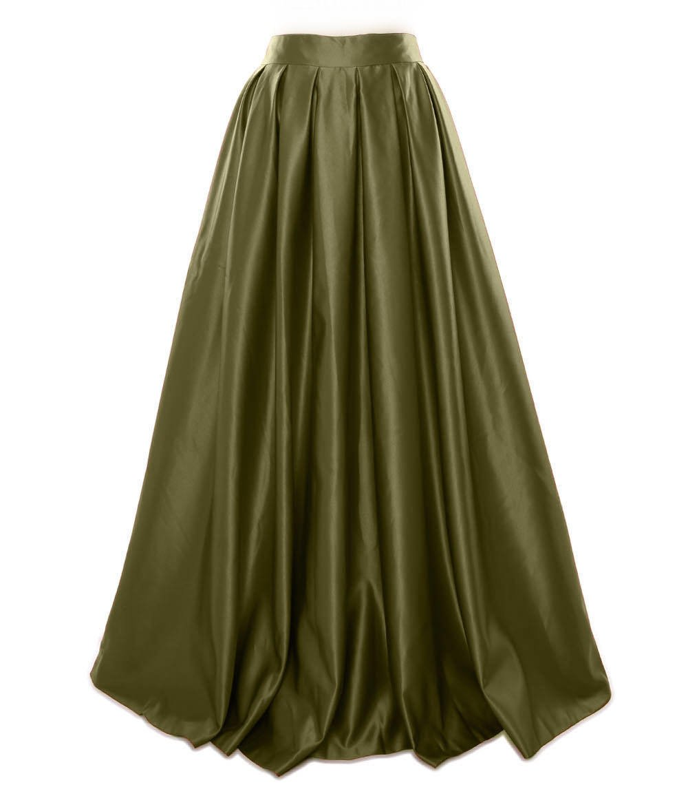 MACloth Women Long Satin Prom Party Formal Evening Dress Skirt (16w, Olive Green)