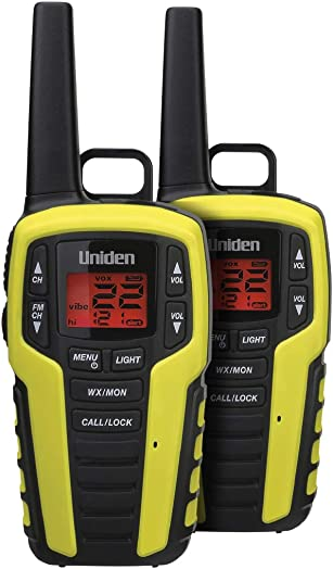 Uniden SX407-2CKFHS, Up to 40 Mile Range, Emergency Two-Way Radio Walkie Talkies, Built-in FM Radio, LED Flashlight Strobe Light, NOAA Weather Alerts, Includes 2 Headsets Dual Charging Cradle