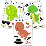 24 Make A Dinosaur Stickers For Kids - Great Dino Theme Birthday Party Favors - Fun DIY Craft Project For Children 3…