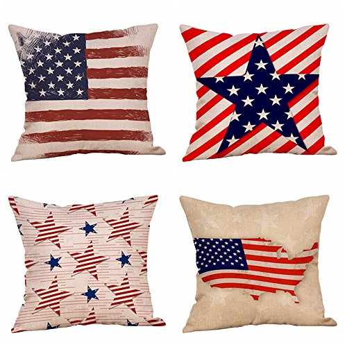 Set of 4 Patriotic American Flag July 4th Inspired Throw Pillow Covers,Stars and Stripes Vintage USA Flag Cotton Linen Pillow Cases Cushion Covers Square 18X18 Inch (Style 1)]()