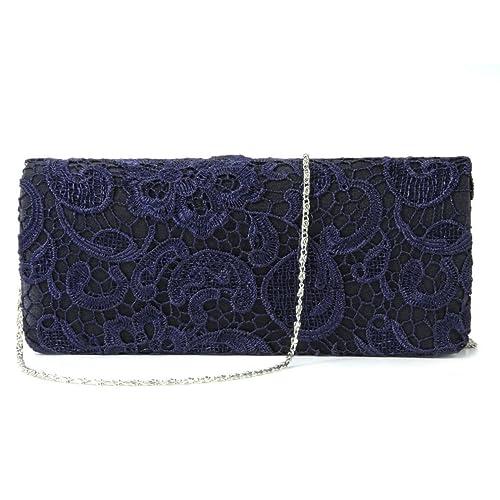 2719a57feee Image Unavailable. Image not available for. Color: POPLife Navy Blue Satin  Lace Floral Clutch Bag Evening Shoulder Bag Wedding Prom Handbag