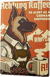 LEotiE SINCE 2004 Tin Sign Metal Plate Decorative Sign Home Decor Plaques Ravtive Vet Practice German Shepherd