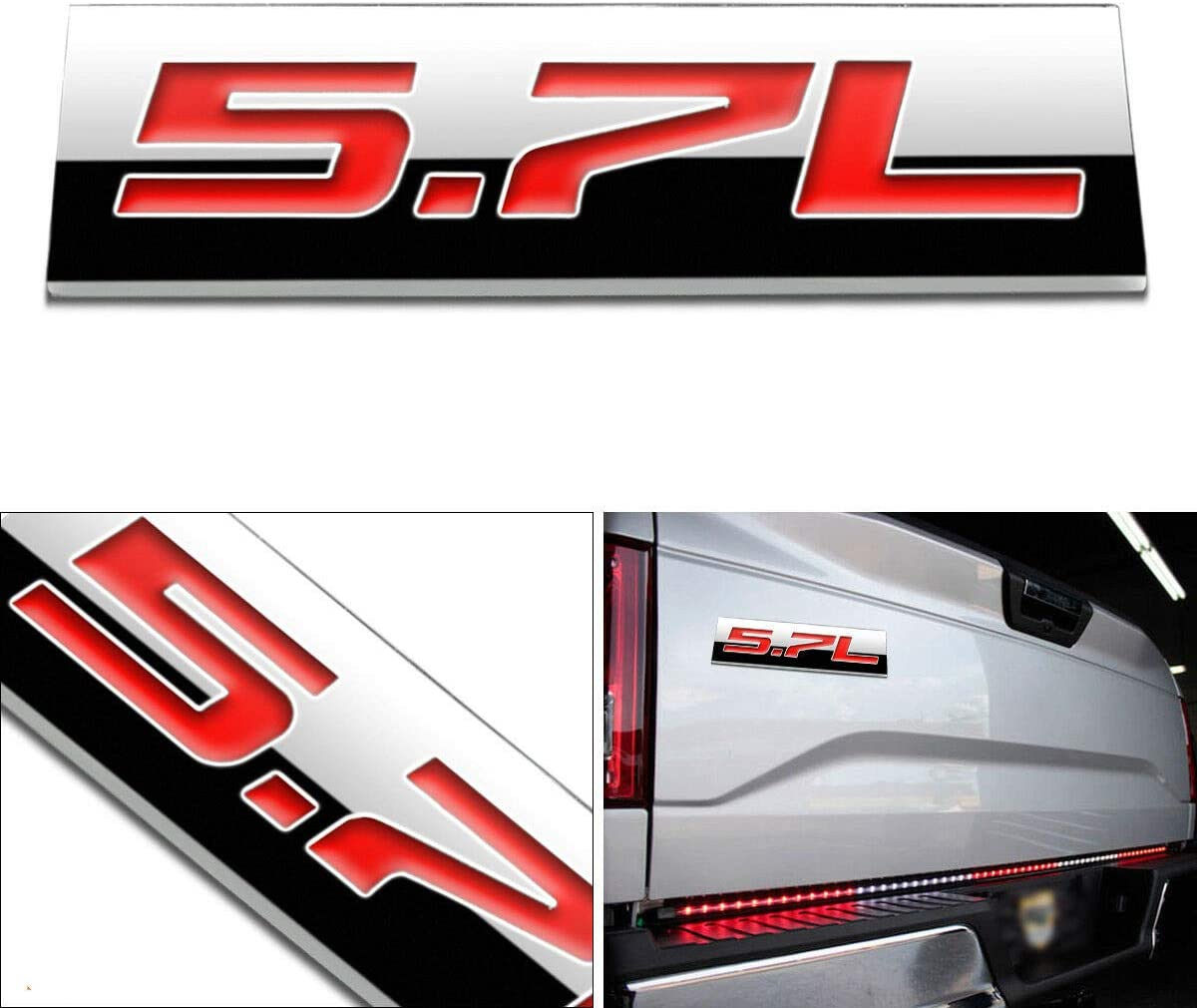 Red 1x 3D Chrome Finish Metal 5.7L Emblem Alloy Badge Sticker