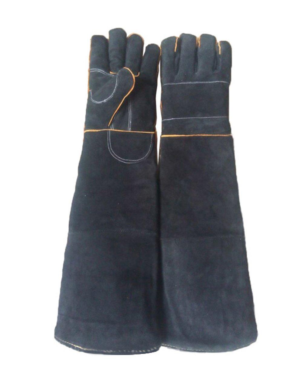 Animals Protection Gloves, Thickened Animal Handling Anti-Bite/Scratch Gloves For Dog Cat Bird Snake Parrot Lizard Anti-Biting Gauntlet, Black 94221