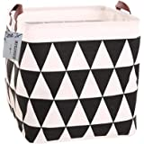 Square Canvas Toy Storage Bins Basket with Handle Collapsible Toy Organizer for Nursery Storage, Kid's Toy & Laundry, Gift Baskets (Black Triangle)