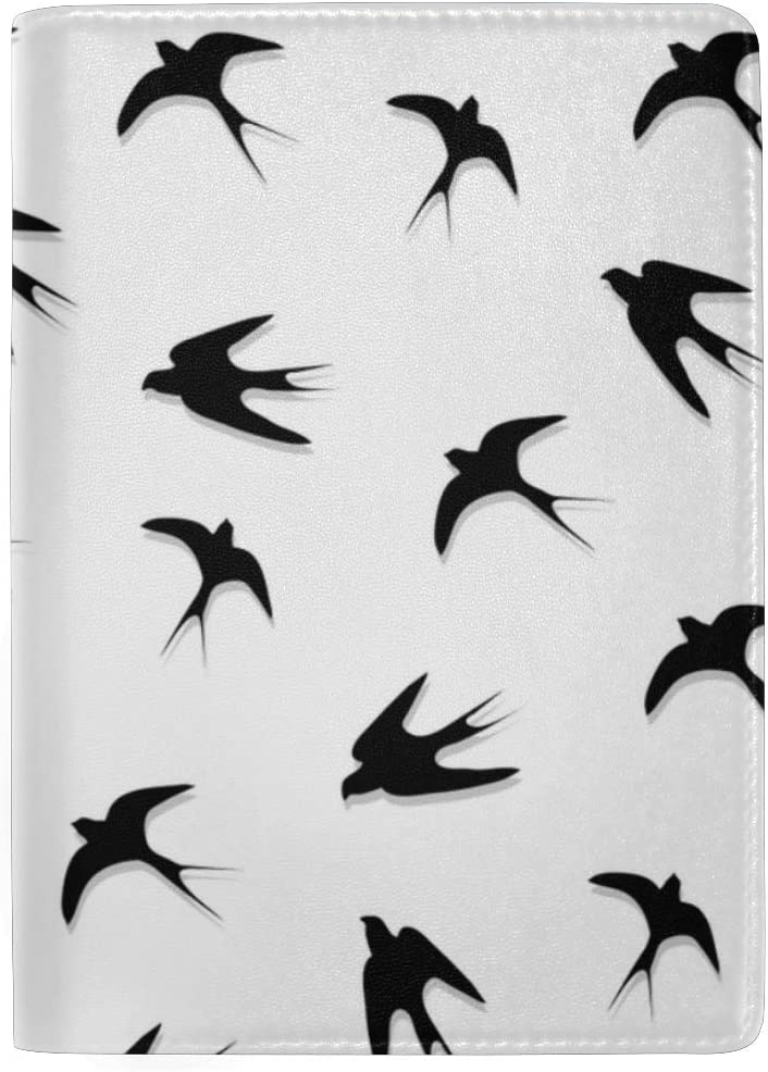 Many Swallows In Flight Blocking Print Passport Holder Cover Case Travel Luggage Passport Wallet Card Holder Made With Leather For Men Women Kids Family