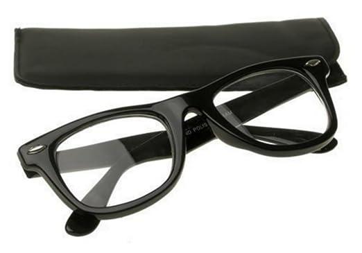596399db65592 PURECITY Lunettes Monture Style Retro Vintage 80 s Geek - Monture Noir -  Verre Neutre Transparent -