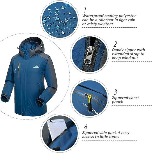 Lixada Giacca da Uomo Impermeabile Antivento Abbigliamento Sportivo Allaperto Escursionismo Sport in Bicicletta Staccabile Cappuccio Cappotto
