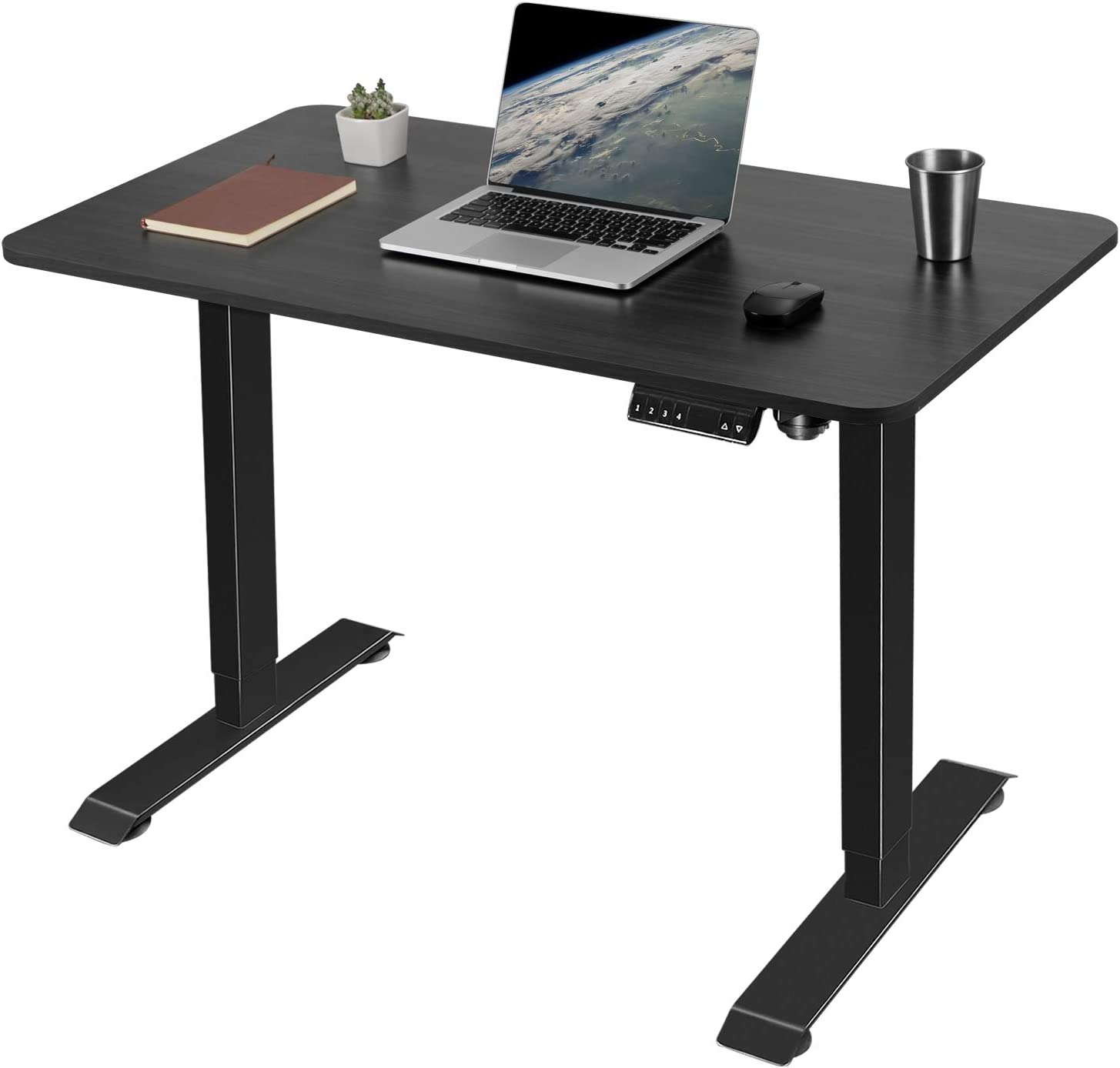 Greesum Electric Height Adjustable Home Office Standing Desk, Modern Design 43-Inch Computer Table for Healthy Working, Black