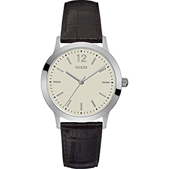 Guess Exchange Beige Dial Leather Strap Ladies Watch W0922G2