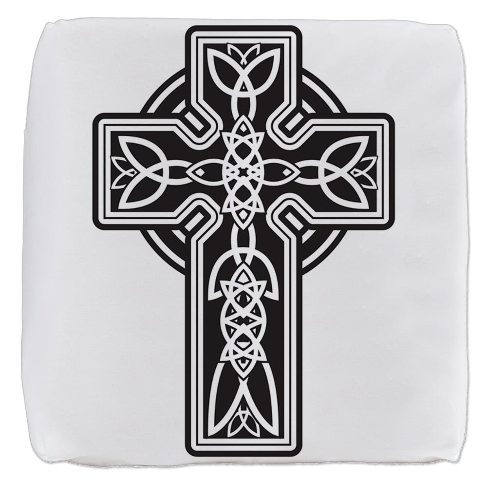 18 Inch 6-Sided Cube Ottoman Celtic Cross by Royal Lion