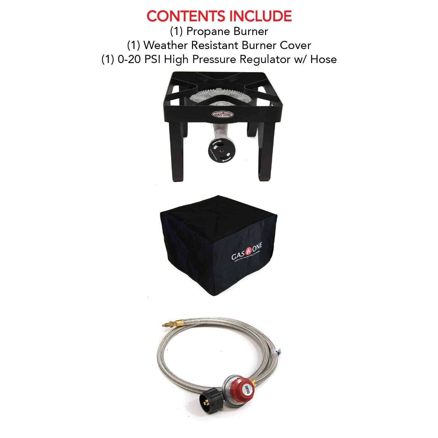 Gas ONE 200,000 BTU Propane Burner with Cover Single Burner Outdoor Burner Camp Stove Propane Gas Cooker with Adjustable 0-20PSI Regulator and Steel Braided Hose Perfect for Home Brewing, Turkey Fry, by GasOne (Image #4)