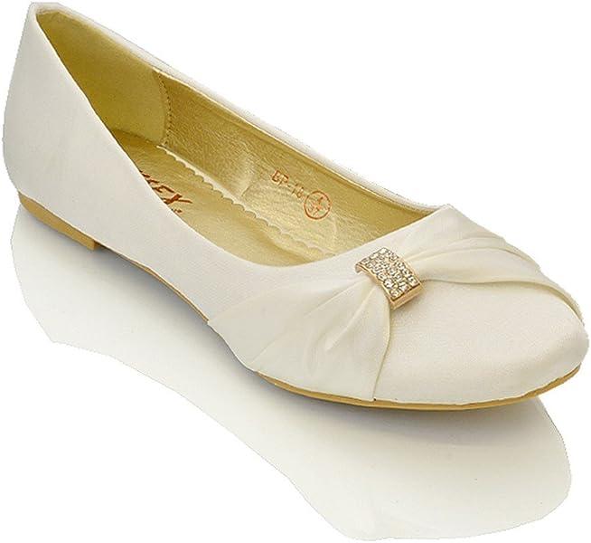 4f8fa4d7cb9e Womens Bridal Wedding Satin Pumps Ladies Slip On Prom Bridesmaid Pumps  Shoes Size 3 4 5 6 7 8 9 White