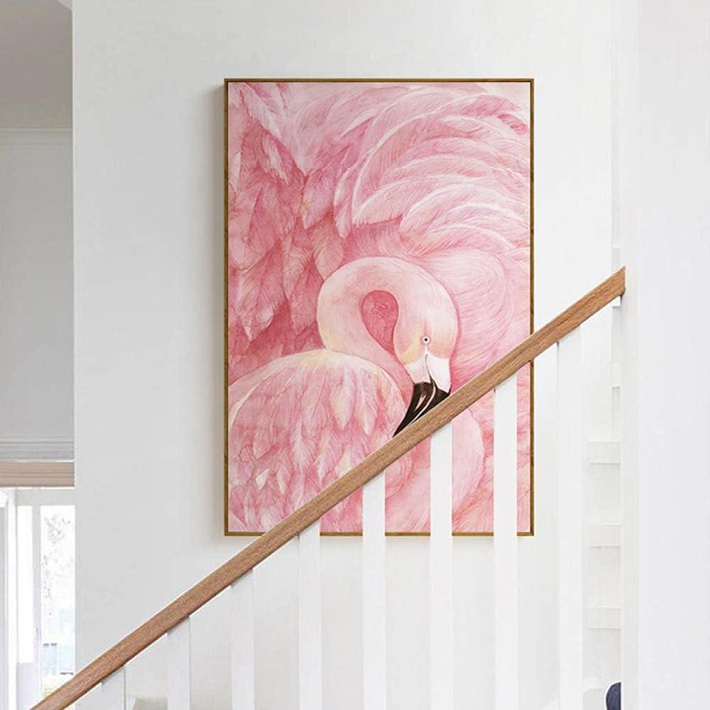 Wild 小さな新鮮なスタイル、ポーチ/インテリア絵画、弱いPSキャンバス、5つのサイズ、クリエイティブピンクのフラミンゴの絵、 (Size : 30x40cm)