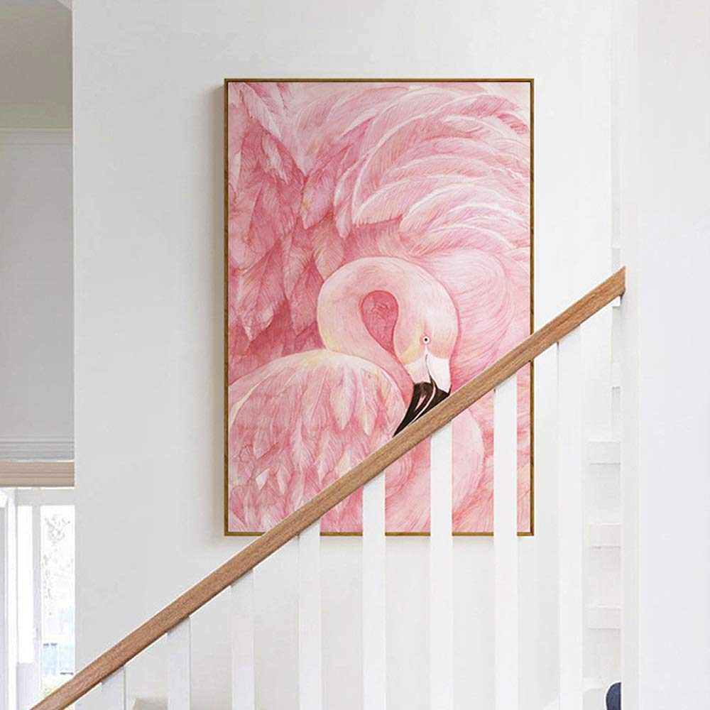Nuanxin Creative Pink Flamingo Paintings, Small Fresh Style, Porch/Interior Painting, Gold PS Photo Frame, Weak Solvent Canvas, Five Sizes, S10 (Size : 30x40cm)