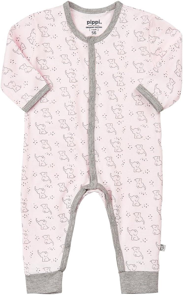Pippi Baby M/ädchen Schlafanzug Gr.68-86 Strampler Overall Elefanten Bio Baumwolle Neu!