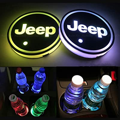 Autoxo LED Car Cup Holder Lights for J e e p 7 Colors Changing USB Charging Mat Luminescent Cup Pad LED Interior Atmosphere Lamp 2pcs: Automotive