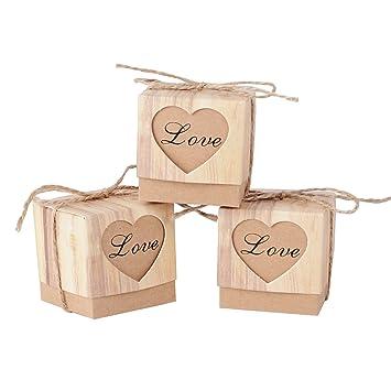 100Pcs Cajas de Caramelo Dulces Cumpleaños Bombones (5 * 5 * 5 cm) para Boda Fiesta Bautizo Graduación con Decoración de Corazón Love Amor: Amazon.es: ...