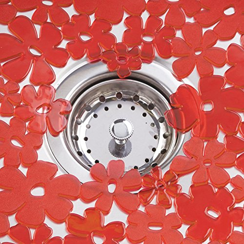 InterDesign Blumz  Kitchen Sink Protector Mat, Red