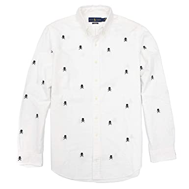 94cea056a Polo Ralph Lauren Men's Classic Fit Skull and Crossbones Oxford Shirt (White,  Medium)