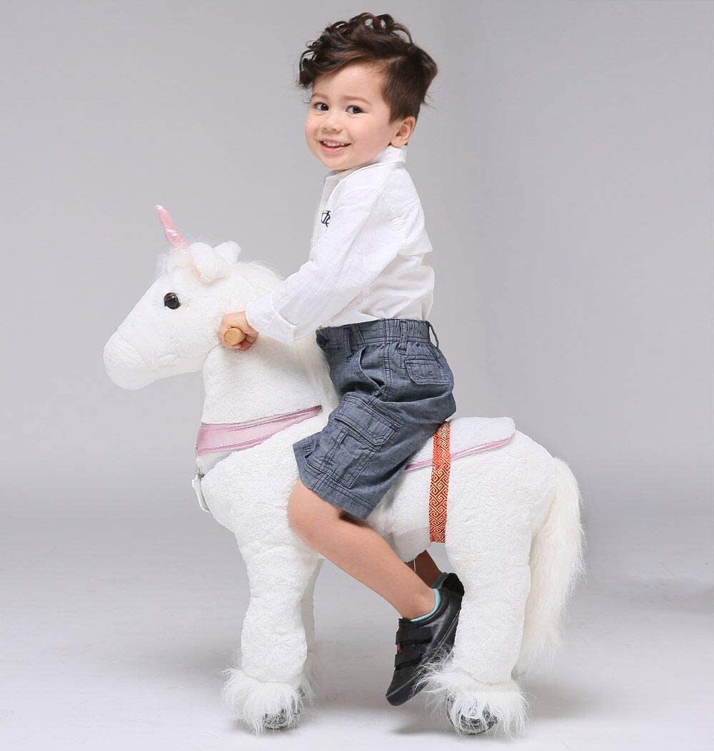 UFREE Horse Great Gift for Girls, Action Pony Toy, Ride on Small 73 cm para niños de 3 a 6 años (Unicornio con Cuerno Rosa)