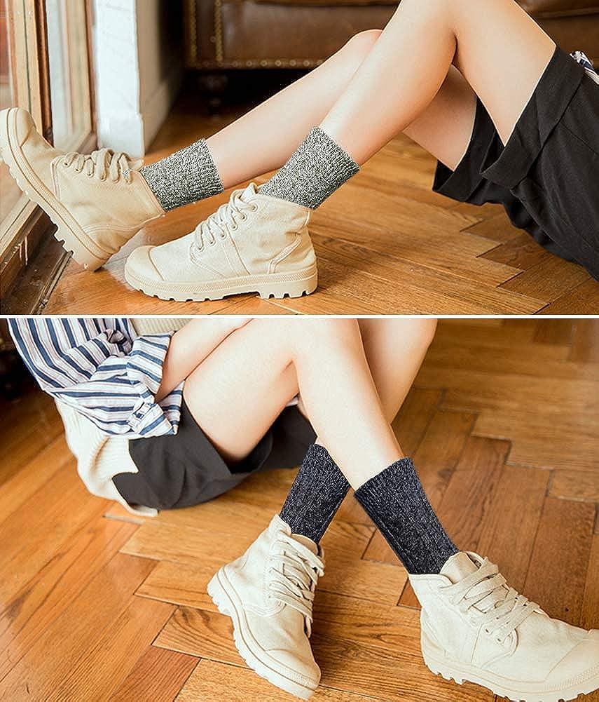 Calzini Donna Vintage di Lana Calda YSense 5paia Calze Donna Termiche e Invernali