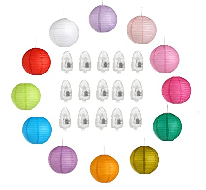 amazon com 12 inch colorful paper lanterns 12 packs and 45 led