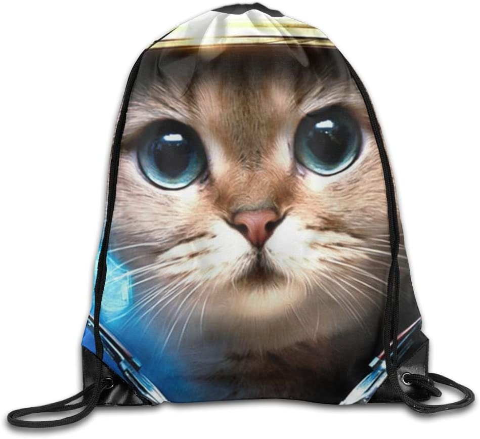 VIMUCIS Astronaut Cat Drawstring Backpack Rucksack Shoulder Bags Training Gym Sack For Man And Women