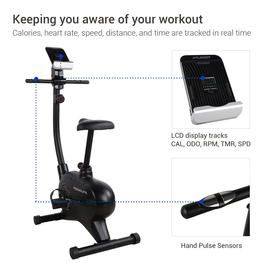 Fitleader UF4 Health Fitness Upright Exercise Indoor Bike Magnetic Stationary Belt Cardio Cycle