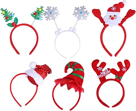 Ladies Christmas Head Boppers Glittered Novelty Headbands Fancy Dress Costume
