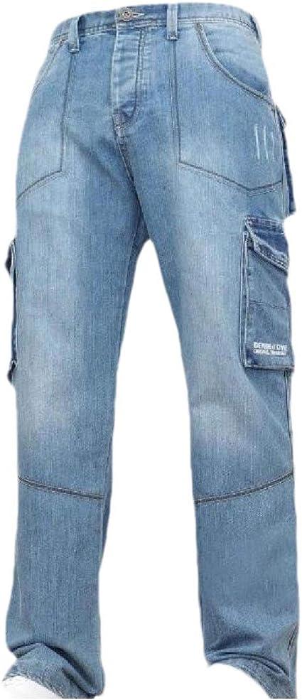 YAXINHE メンズ ウォッシュ ミドル ウエスト マルチポケット プラス サイズ ストレート カジュアル ジーンズ