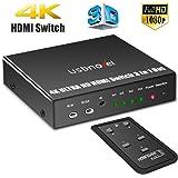 3 Port HDMI Commutateur,USBNOVEL 3 Entrées 1 Sortie 4K x 2K / Full HD 1080p / 3D Ready HDMI Switch avec IR télécommande pour TV HD, PS3, PS4, Xbox , Lecteur Blu-Ray, DVD etc