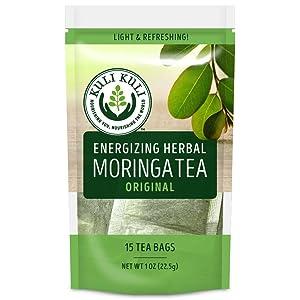 Kuli Kuli Energizing Herbal Moringa Tea Original, 15 Count, Caffeine-Free Tea with Antioxidants, No Artificial Flavors or Ingredients, Light and Refreshing Tisane