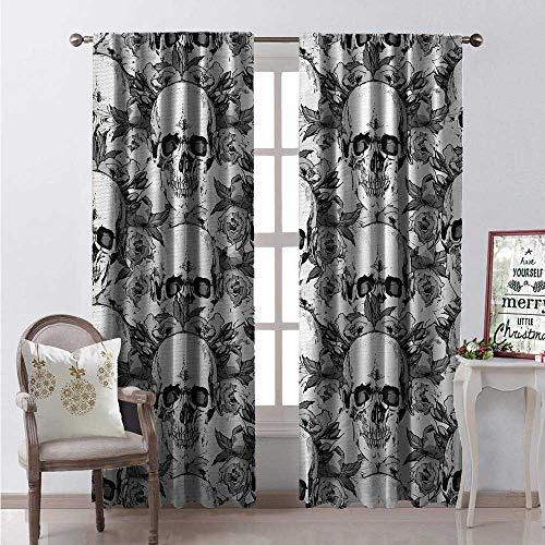 Hengshu Day of The Dead Waterproof Window Curtain Skull Skeleton Pattern Print Dia de Los Muertos Festive Theme Decorative Curtains for Living Room W72 x L84 Grey and White -