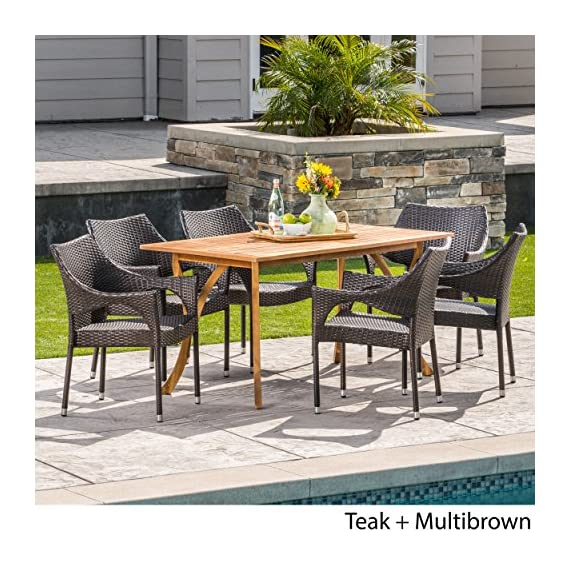 Christopher Knight Home Zoey | Outdoor 7-Piece Acacia Wood/Wicker Dining Set | with Teak Finish | in Multibrown - The beautiful blend of wood and wicker comes to life with this dining Set, complete with six stacking wicker dining chairs, you can enjoy eating in your backyard whenever you want, The wooden table is treated to withstand even the harshest of seasons, ensuring your Set looks great all year long, The rectangular table ensures that there is enough space for both food and people, meaning no one leaves the table hungry Includes: one (1) table and six (6) chairs Table material: Acacia wood | chair Material: faux wicker | chair frame material: iron | wood Finish: teak | wicker finish: - patio-furniture, dining-sets-patio-funiture, patio - 617SoSdZJ2L. SS570  -