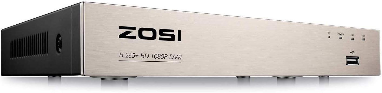 ZOSI 8CH 1080P H.265+ Videograbador de Vigilancia para Kit de Cámaras Seguridad, Detección de Movimiento, Remoto P2P, sin Disco Duro