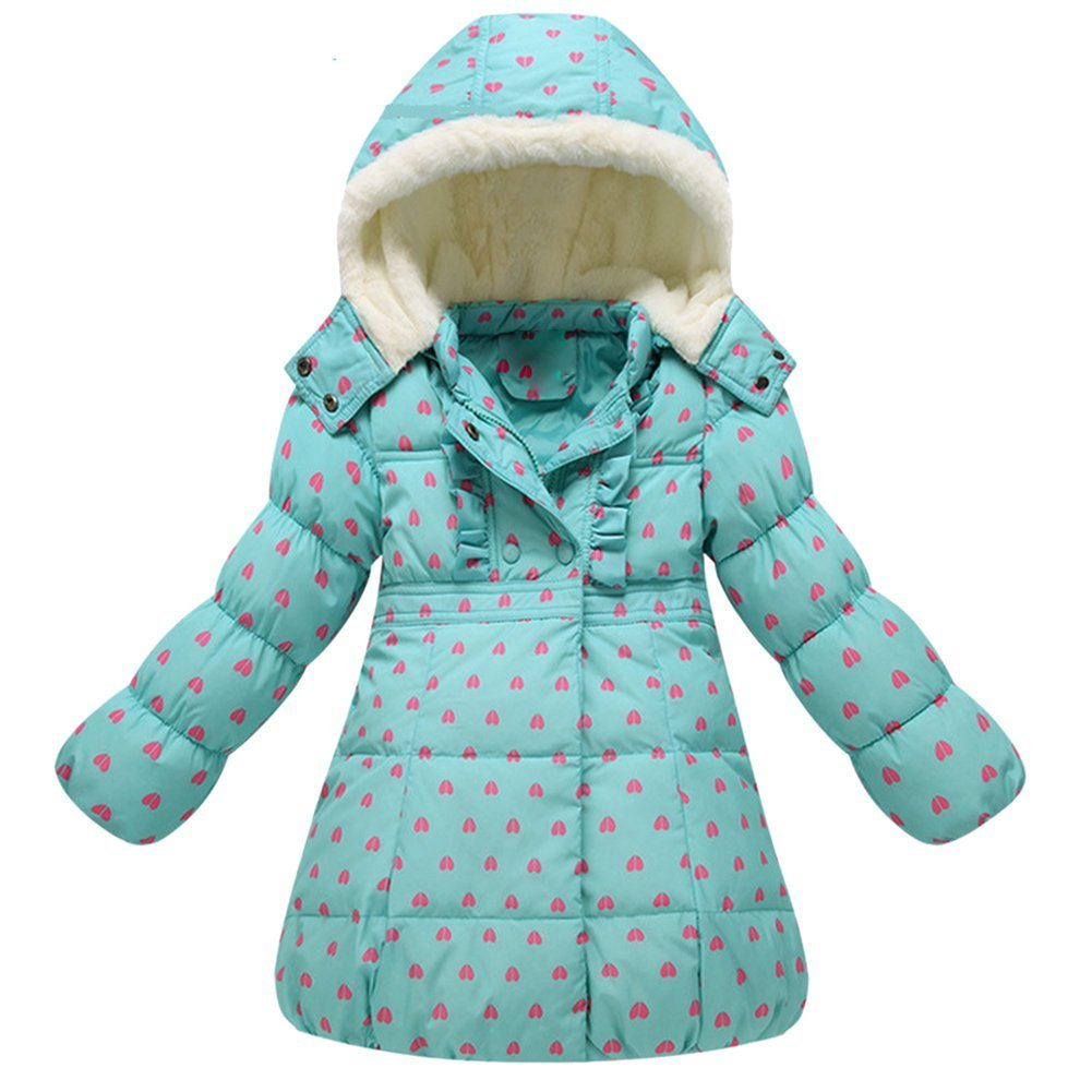 iikids Girls Winter Warm Thick Jacket Long Puffer Snowsuit Hooded Outwear