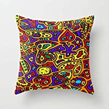 Geometry Throw Cushion Covers 16 X 16 Inches / 40 By 40 Cm For Indoor Play Room Her Bedding Office Dance Room With Twin Sides