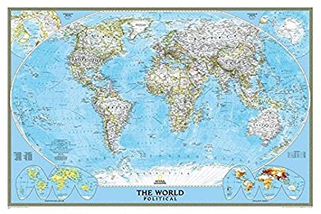 National Geographic World Political Map.Amazon Com National Geographic Political World Map 24x36 Office