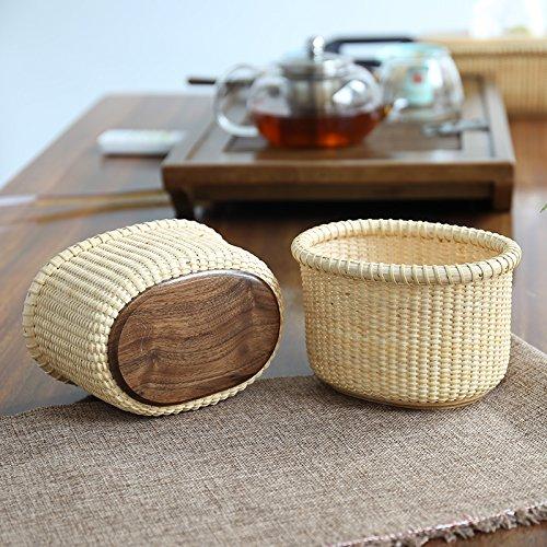 Teng Tian Handmade Basket, Desktop Rattan Organizer with Premium Hardwood Base