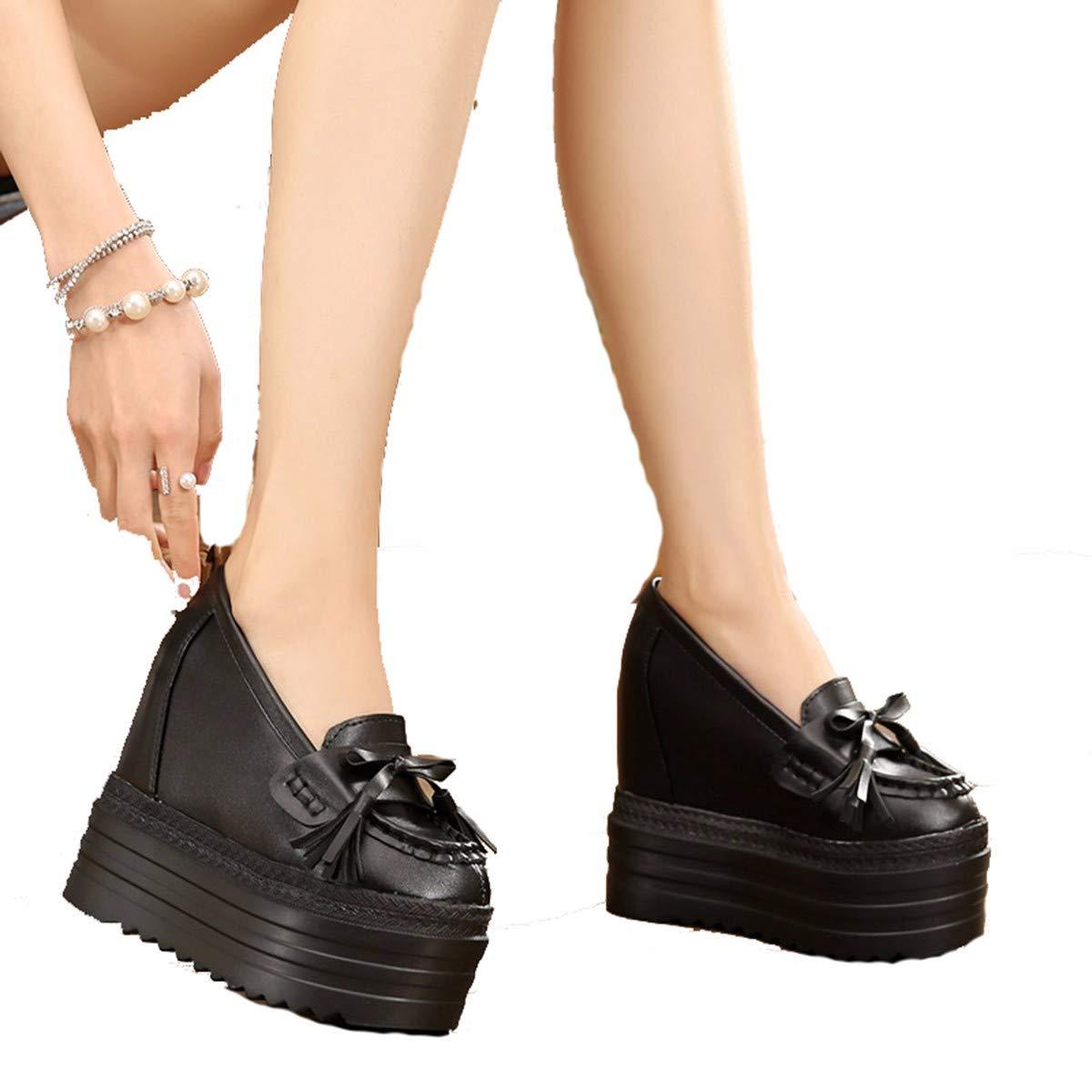 GTVERNH Damenschuhe Mode 12Cm Hochhackigen Schuhe Unten mit Erhöhten Muffins Unten Schuhe Schwarz Einzelne Schuhe Schrägen Mode Fransen Damenschuhe mit Fliegen. c8b77d