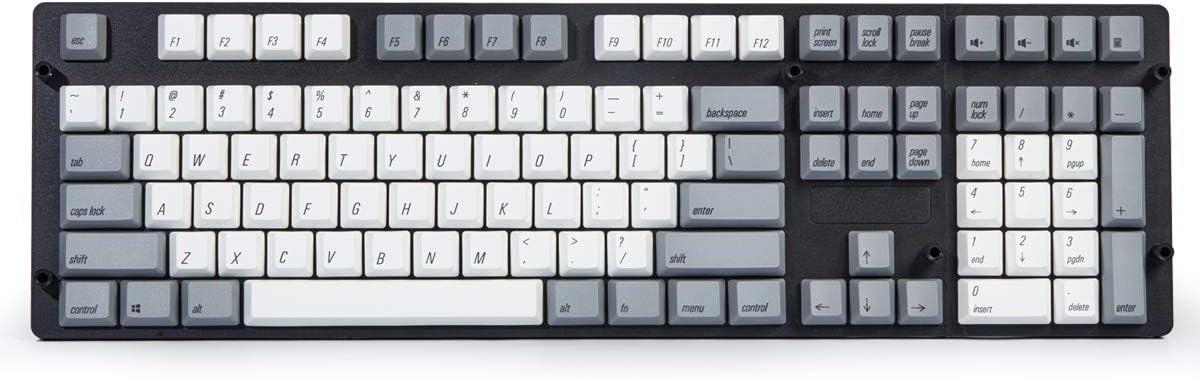 Qisan Keycaps 108 Keys PBT Keycaps Set PBT Dint-Subbed Keycaps para teclados mecánicos-Gris Blanco Combo