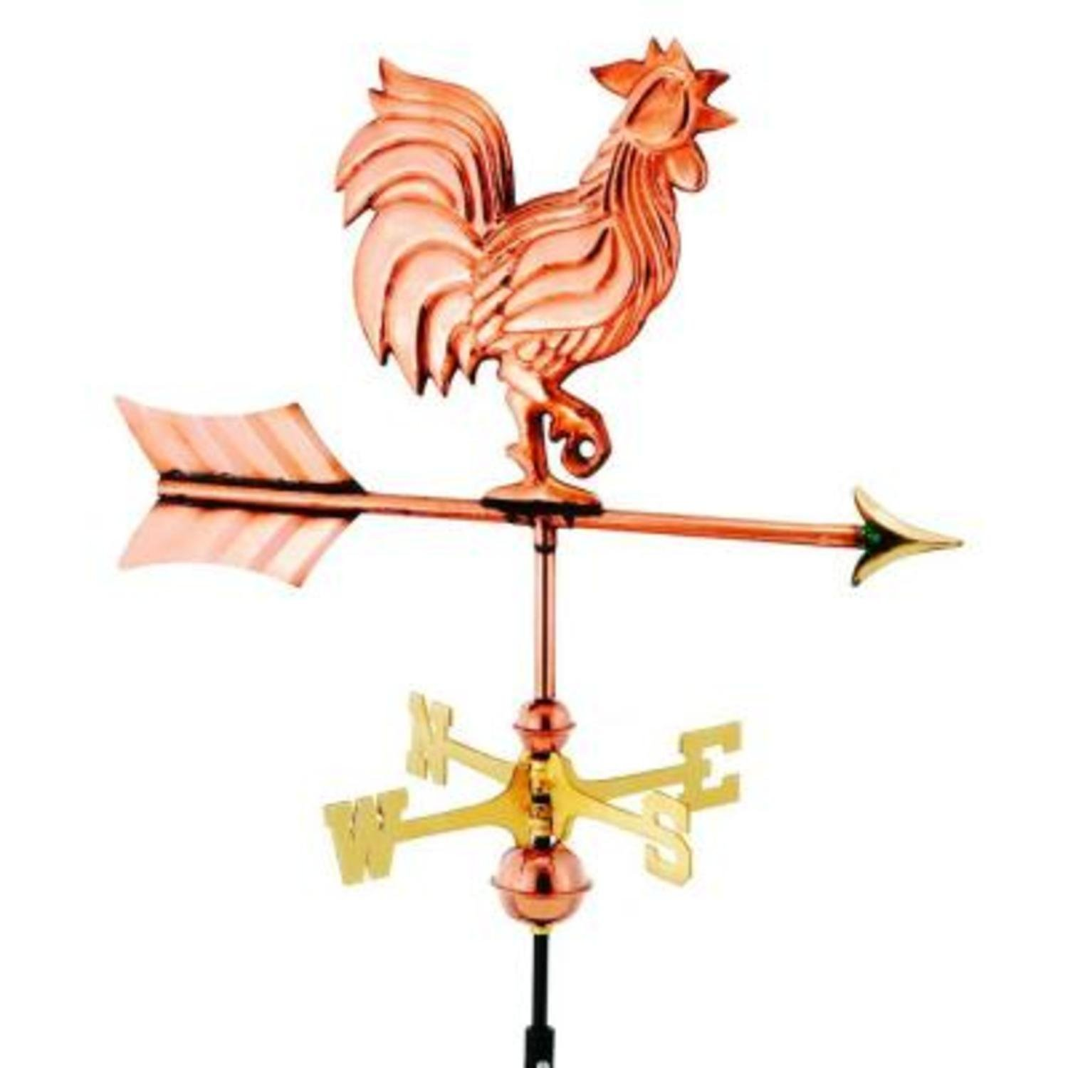 21'' Handcrafted Polished Copper Proud Rooster Outdoor Weathervane with Roof Mount