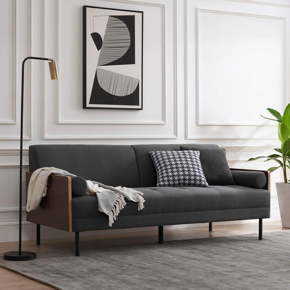 Mopio Jacob Mid-Century Tufted Fabric Sofa/Modern 72.6 Inch Living Room Couch, Dark Gray by AsianiCandy