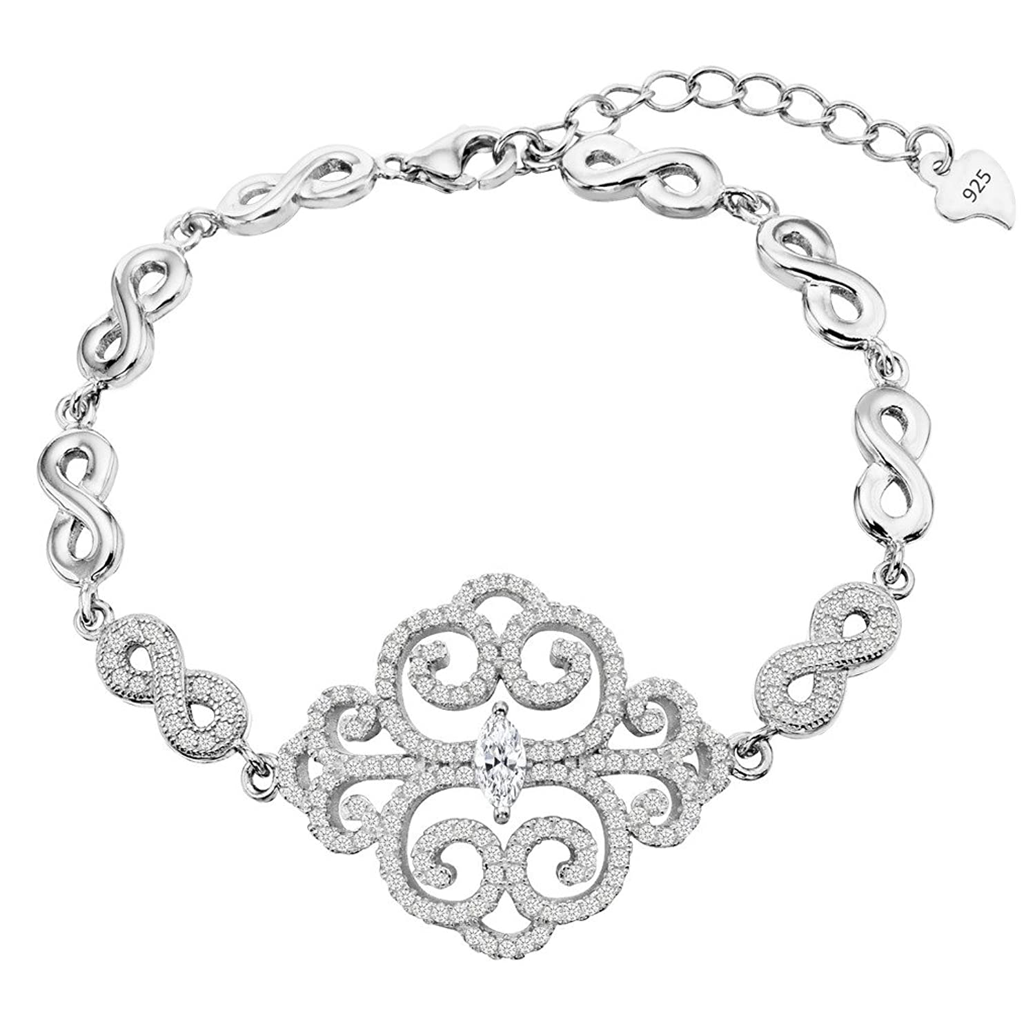 EVER FAITH 925 Sterling Silver Pave CZ Art Deco Filigree Figure 8 Infinity Woman Link Bracelet Clear