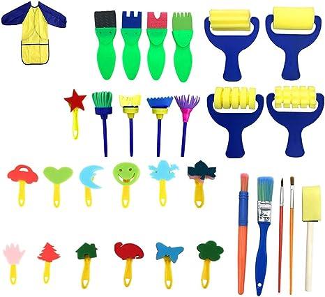 Graffiti Pinsel Boquite Schwammb/ürste Spielzeug Kit Kinder Graffiti Zeichnung Spielzeug Schwammb/ürsten Stempel Pinsel Kit Malwerkzeug
